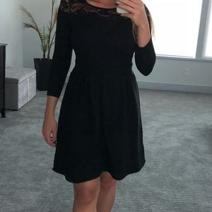 Jessica Simpson black dress with lace detail.